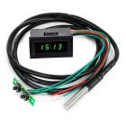 "1.2"" LED Time / Votage / Temperature Digital Display Thermometer Voltmeter - Black + Green"