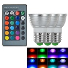 E27 3W LED Spotlights Bulbs RGB Light 80lm - White + Silver (AC 85~265V / 3 PCS)