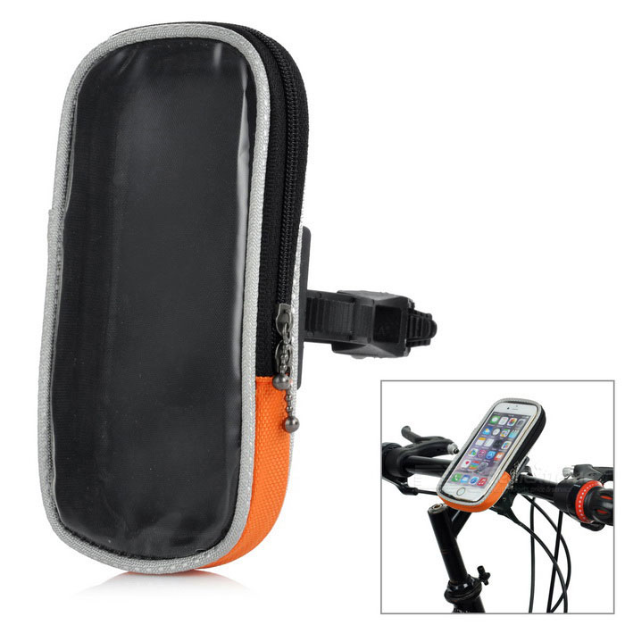 "Yanho Bike Mounted Touch Screen Case Bag for 4.8"" Phones - Orange (M)"