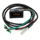 "1.2"" Yellow LED Time / Votage / Temperature Digital Display Thermometer Voltmeter - Black"