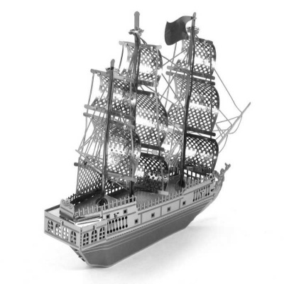 Creative 3D Pirate Ship Educational Puzzle Toy for Kids - Silver