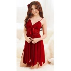 Femmes sexy deep v-neck la dentelle nightgown lingerie w / thong - rouge
