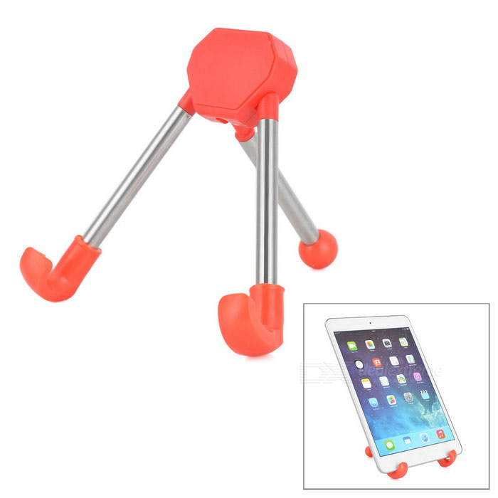 Universal Foldable Desktop Holder Tripod for Phone & Tablet PC - Red