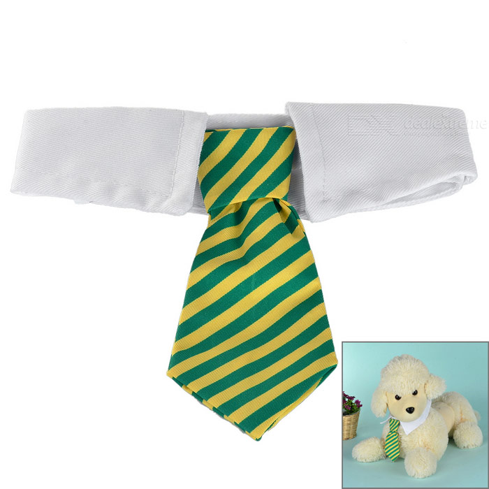 Striped Cotton Neck Tie Collar for Cats / Dogs - Yellow + Green (M)