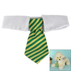Fashionable Striped Cotton Neck Tie Collar for Pets / Cats / Dogs - Yellow + Green (M)