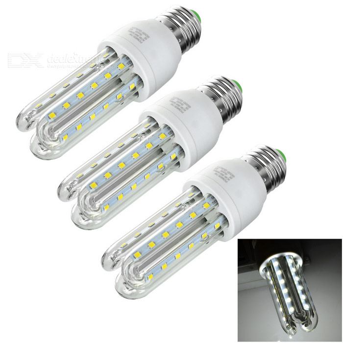 E27 7W 3U-Shaped 36-LED Corn Lamps Cold White 560lm - Beige (3PCS)