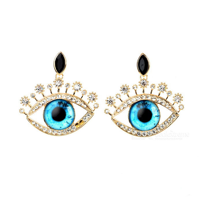 Metal Sexy Eyes-Shaped Stud Earrings - Gold + Blue (2PCS)