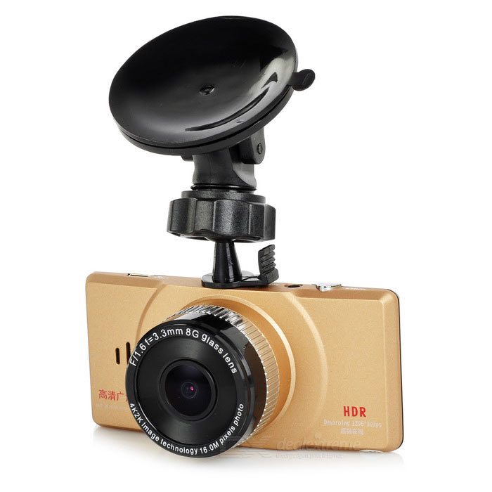 "2.7"" TFT 1080P 5.0MP 170' Car DVR w/ G-Sensor - Champagne Gold"