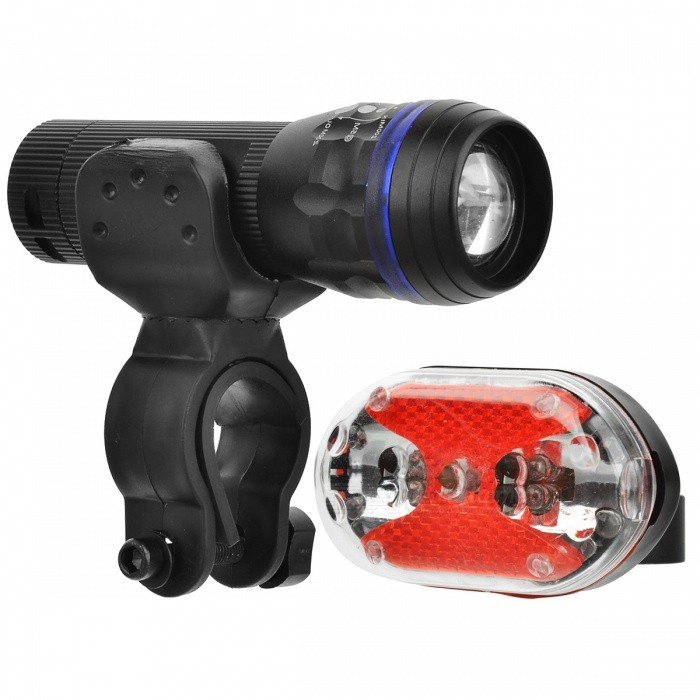 5-LED 7-Mode Red Tail Light + 1-LED 3-Mode White Zooming Bike LightBike Light<br>Form ColorBlack + Blue + Multi-ColoredQuantity1 DX.PCM.Model.AttributeModel.UnitMaterialAluminum alloy + plasticColor BINWhiteNumber of Emitters1BatteryTail light: 2 x AAA (not included); Flashlight: 3 x AAA (not included)Battery included or notNoNumber of Modes3Mode ArrangementHi,Mid,Fast StrobeStrap/ClipClip includedApplicationHandle BarWaterproofYesCertificationCEPacking List1 x Headlight1 x Tail light2 x Holders<br>