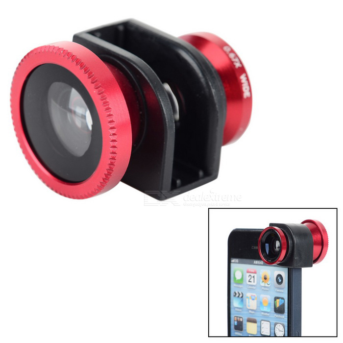 3-in-1 Wide-Angle + Fish Eye + Macro Camera Lens Kit for IPHONE 5 / 5S - Red + Black