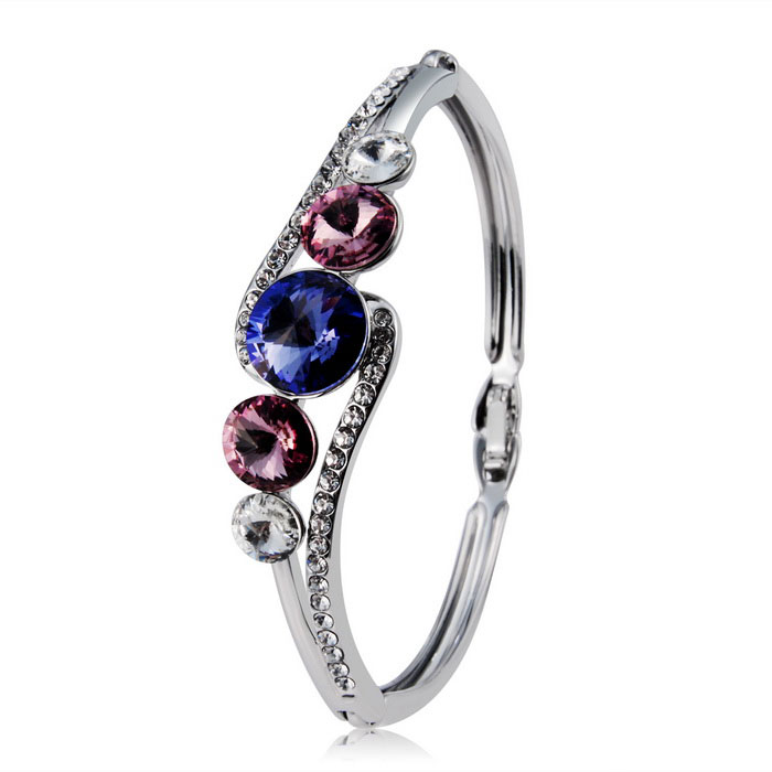 Fashion Alloy Crystal Bracelet - Silver