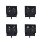 Jtron 125~250V 6~10A 4-Pin Dual Rocker Switch - Black (4PCS)