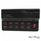 5V 12A 10-Port USB Smart Fast Charger Adapter w/ AU Plug Power Cable - Black (100~240V)
