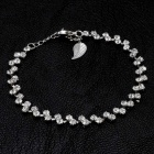 Women's Two Crystals Style Alloy Bracelet - Silver