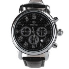 SPEATAK SP9049G Men's Fashion Stainless Steel PU Band Quartz Analog Wrist Watch - Black + Silver