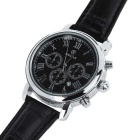 SPEATAK SP9049G Men's PU Band Quartz Wrist Watch - Black + Silver