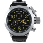 SPEATAK 60114G Men's Fashion PU Leather Band Analog Quartz Watch - Black + Silver + Yellow (1xLR626)
