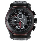 SPEATAK SP9048G Men's Fashion Sstainless Steel PU Band Quartz Analog Wrist Watch - Black + Red