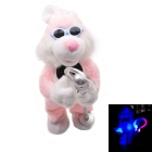 Singing Cute Little Bunny Emitting Electric Plush Toy for Children - Light Pink + White (3 x AA)