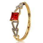 Women's Triangle-Connected Crystal + Alloy Bracelet - Gold + Multicolor