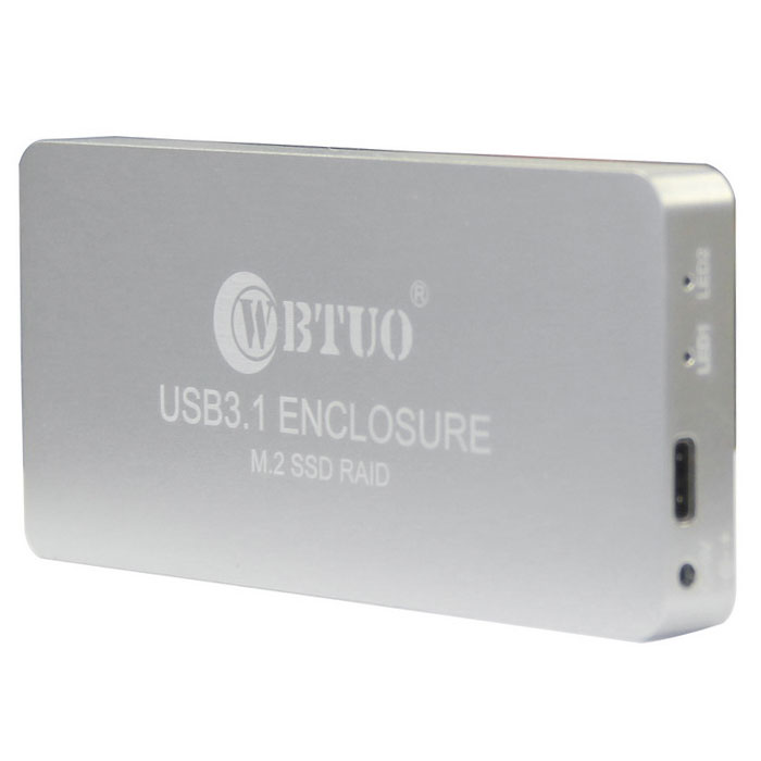 WBTUO USB 3.1 Type-C to NGFF(M.2) SSD RAID HDD Enclosure - Silver