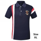 Men's Striped Short Sleeve POLO Shirt - Sapphire Blue (XL)