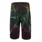 Men's Lines Pattern Quick-Drying Beach Shorts - Black (Size: 30)