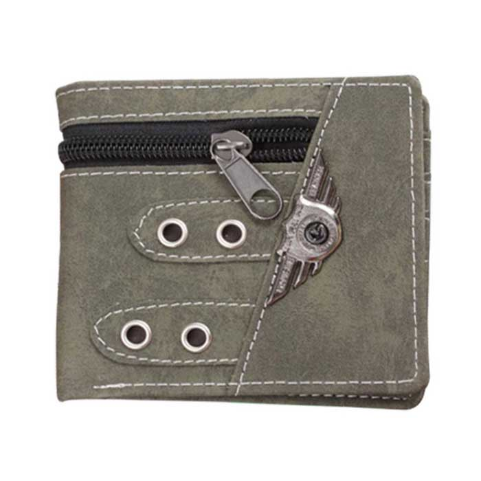 Men's Casual Retro Punk Style Zipper PU Purse Wallet - Army Green