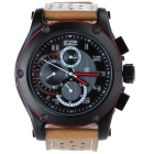 SPEATAK SP9048G Men's Fashion Stainless Steel PU Band Quartz Analog Wristwatch - Black + Red + Brown
