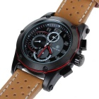 SPEATAK SP9048G Men's PU Band Quartz Analog Watch - Black + Brown