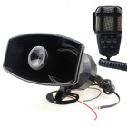 12V 7-Sound Car Vehicle PA System Horn Siren Loud-Speaker w/ Mic - Black