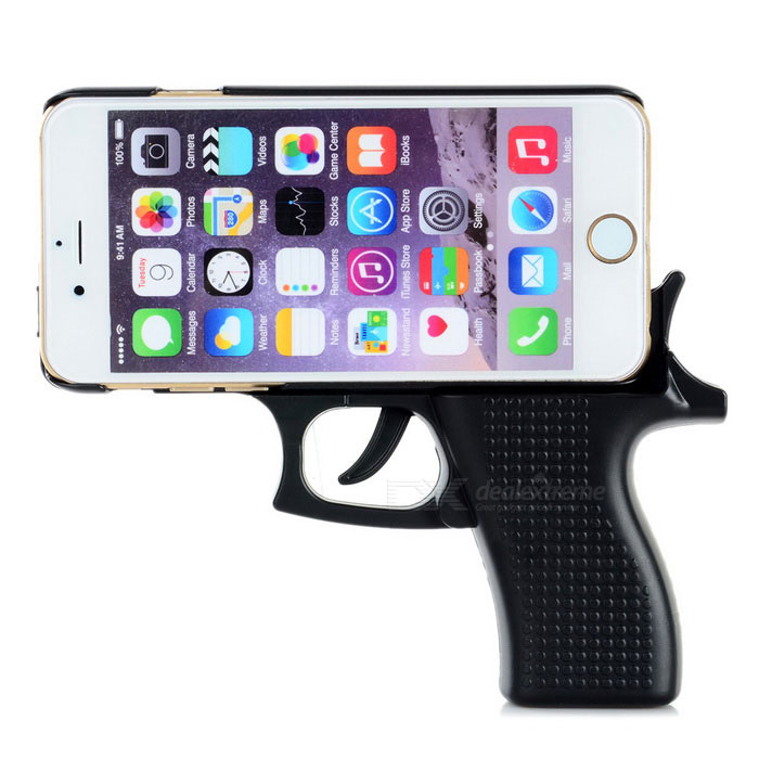 Creative Gun Shape Protective Plastic Back Case Cover for IPHONE 6 - Black
