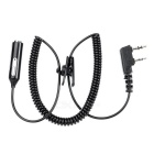 Cwxuan 3.5mm Female to K-Type Earphone Adapter Cable w/ Microphone for Walkie Talkie - Black