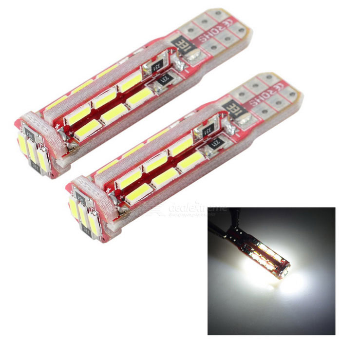 T10 1W Car LED Lamps White 6000K 69lm 27-SMD - Red + Yellow (2PCS)