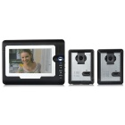 "7"" Color TFT LCD 2-to-1 Home Villa Security Video Door Phone Kit - Black + Dark Grey (EU Plug)"