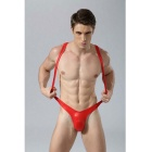 Men's V-Strap PU Leather Lingerie Thong Underpants - Red (M)