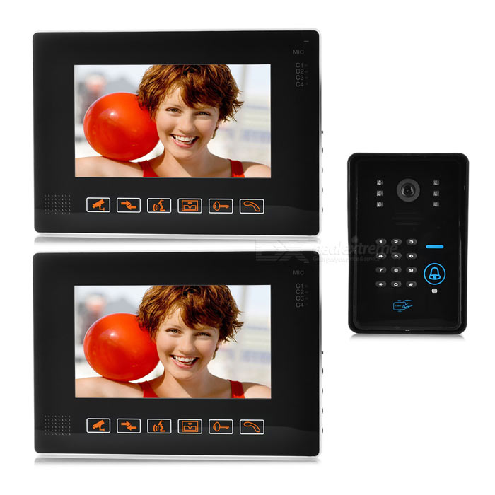 "9"" Color LCD Video Door Phone Kit w/ Remote Control - Black + White"