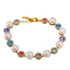 Stylish Rhinestone-studded Crystal Inlaid Pearl Bracelet - Golden + White