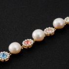 Rhinestone-Studded Crystal Inlaid Pearl Bracelet - Golden + White