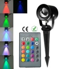 Waterproof 10W 1-LED Insert Light RGB 800lm w/ Remote Control - Black (AC 85~265V)