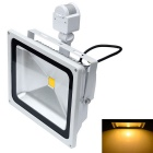 JIAWEN Waterproof 50W LED Human Body IR Sensor Floodlight Warm White 3200K 4200lm - White