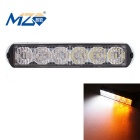 MZ Wired 18W 6-LED Car Flashing Warning Signal Lamp White + Yellow Light 1080lm - Black (12~24V)