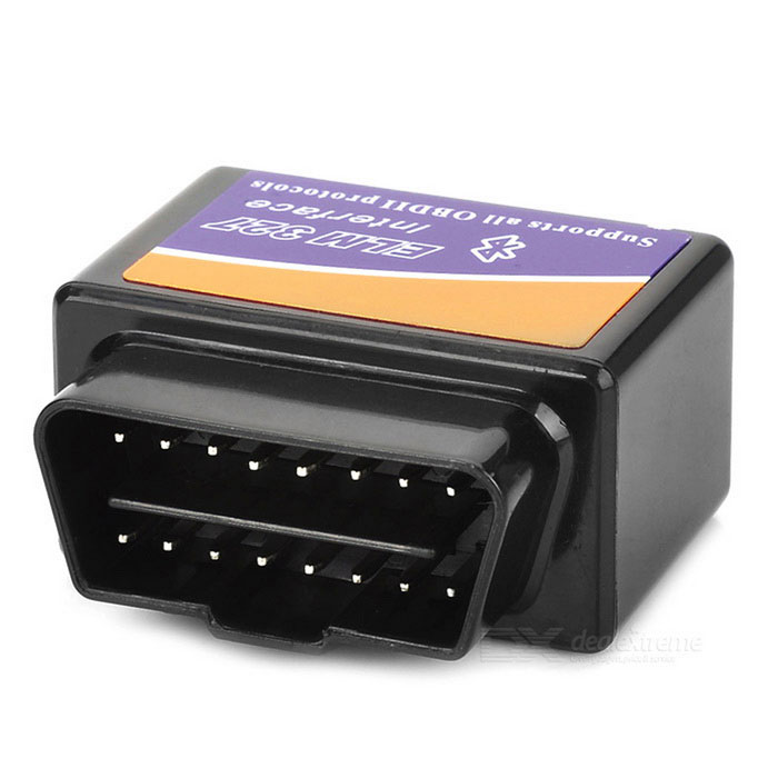 ELM327 Bluetooth OBD2 V2.1 Car Diagnostic Interface - Black+ BlueCode Readers and Scan Tools<br>Form  ColorBlack + Blue + Multi-ColoredModelN/AQuantity1 DX.PCM.Model.AttributeModel.UnitMaterialPlasticVersionOthers,V2.1FunctionRead trouble codes,Check Engine Light (MIL),Clear trouble codes,Display current sensor data,Caculate fuel oil consumptionReadparam Engine RPM,Calculated Load Value,Coolant Temperature,Fuel System Status,Vehicle Speed,Short Term Fuel Trim,Long Term Fuel Trim,Intake Manifold Pressure,Timing Advance,Intake Air Temperature,Air Flow Rate,Absolute Throttle Position,Oxygen sensor voltages associated short term fuel trims,Fuel System status,Fuel PressureWireless BluetoothYesTransmit Distance10 DX.PCM.Model.AttributeModel.UnitDiagnose Interface16pinSupported LanguagesEnglishSmartphone Brand SupportedSamsung,LG,Nokia,Sony EricssonApplication SupportedNotebook,PC,SmartphoneSoftware Platform SupportedAndroid,Symbian,PPC?Windows Mobile),Win XP,Win 7Protocols SupportedISO15765-4 (CAN),ISO14230-4 (KWP2000),ISO9141-2Output ProtocolISO15765-4 (CAN),ISO9141-2Indicator LEDsOBD transmitBaud Rate9600-38400 DX.PCM.Model.AttributeModel.UnitCompatible MakeUniversalWorking Voltage   12 DX.PCM.Model.AttributeModel.UnitWorking Current45 DX.PCM.Model.AttributeModel.UnitPacking List1 x Scanner<br>