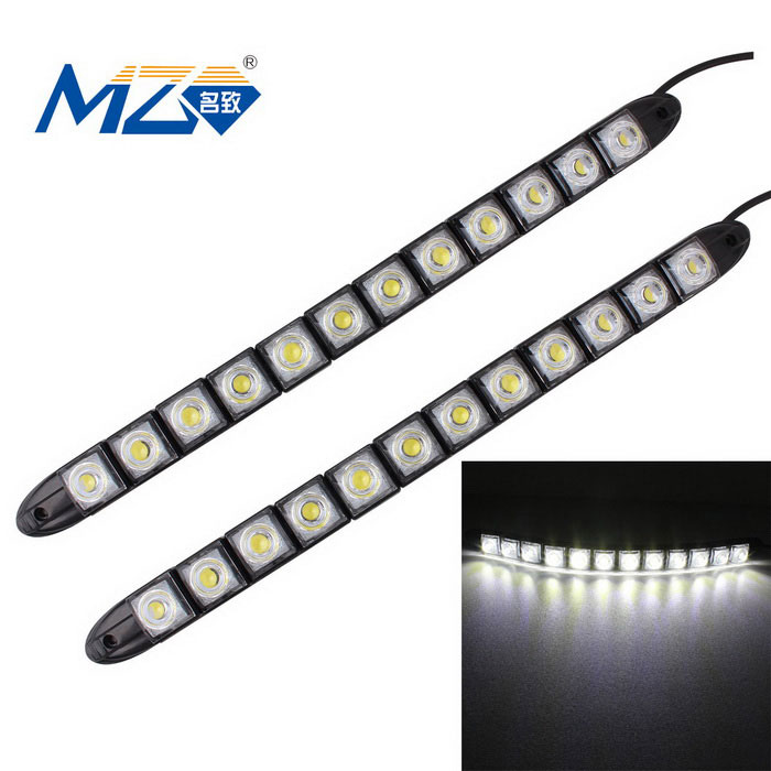 MZ 6W lámpara corriente diurna flexible del coche del blanco LED - negro (2PCS)