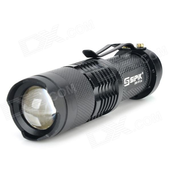 SIPIK SK68 120lm Convex Lens LED Zooming Flashlight w/ Q3-WC - Black