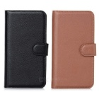 Lichee Pattern Protective PU Case Cover w/ Stand & Card Slots for Samsung S5 - Black + Brown (2pcs)