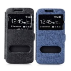Protective PU Case w/ Stand / Dual Viewing Window for Samsung S6 - Black + Blue (2 PCS)