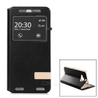 USAMS Protective Flip-Open PU + PC Case w/ Stand / Visual Window for HTC One M9 Plus - Black