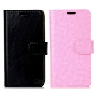 Flip-Open PU Full Body Cases w/ Stand, Card Slot for Samsung Galaxy S6 Edge - Pink + Black (2PCS)