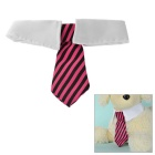 Fashionable Striped Cotton Neck Tie Collar for Pet Cat / Dog - White + Deep Pink (M)